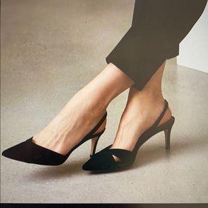 Reiss point-toe kitten heel slingback leather 37